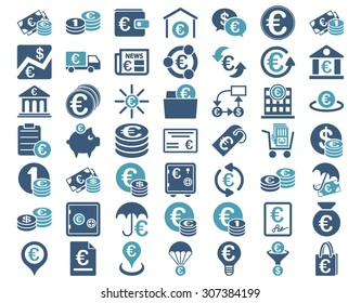 Euro Banking Icons. These flat bicolor icons use cyan and blue colors. Glyph images are isolated on a white background.