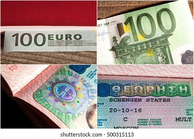 Euro banknote closeup on wooden background and a Schengen visa in the passport