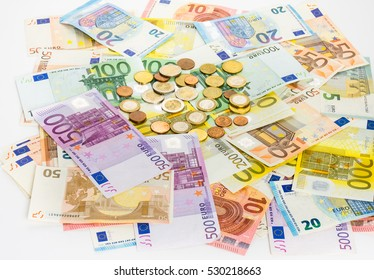 euro banknote and coins money  finance concept cash on white background. bills