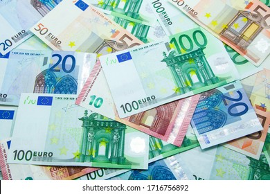 Euro banknotes in 10, 20, 50, and 100