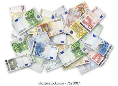 Euro banknotes of 200, 100, 50, 20, 10 and 5 Euroes spread randomly on a table.