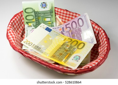 Euro banknotes in a basket