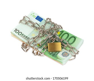 Euro banknotes with chain and padlock on white background