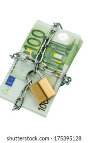 euro banknotes with chain and padlock. symbolic photo for security and inflation.