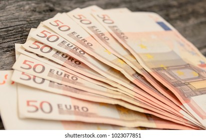 Euro banknotes close-up