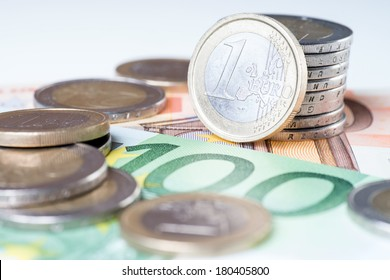 Euro Banknotes with euro coins / Euro Money