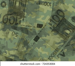 Euro banknotes are covered by khaki camouflage pattern. Metaphor of budget and funds of army and military / money spent as investment into armament and militarization
