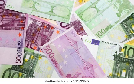 Euro banknotes of different denominations