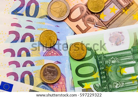 Euro Banknotes Different Value Euro Coins Stock Photo (Edit Now