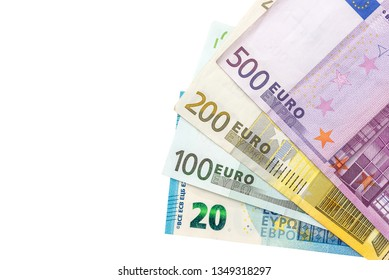 Euro banknotes in fan isolated on white background