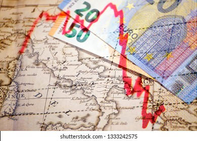 Euro banknotes and financial market trend-line on top of an old map of Ital