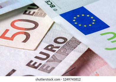 Euro banknotes from the first series of various denominations.