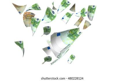 euro banknotes flying - 3d rendering
