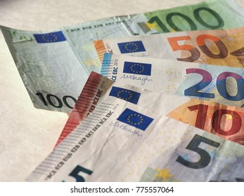 Euro banknotes money (EUR), currency of European Union, full range including five, ten, twenty, fifty and one hundred euros