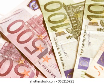 Euro banknotes money european currency vintage