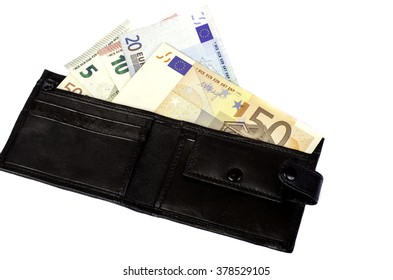 Euro banknotes in nominal value 5, 10, 20 and 50 in black purse. Isolated.