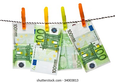 Euro banknotes on a rope studio isolated