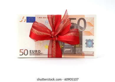 Euro Banknotes with Ribbon on white background