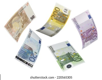 Euro bill collage isolated on white. Horizontal format