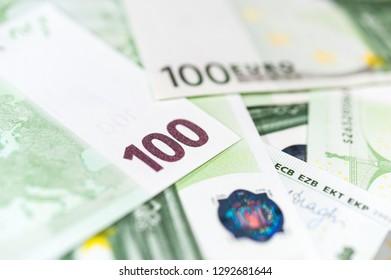 Euro bills background. Close up cash money.