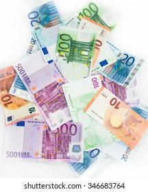 euro bills  euro banknotes money. European Union Currency