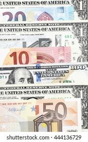 Euro bills and dollar bills for background