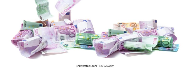 Euro bills flying around, banner isolated on white