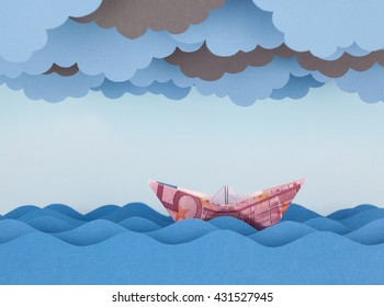 Euro boat in storm. Paper waves and clouds