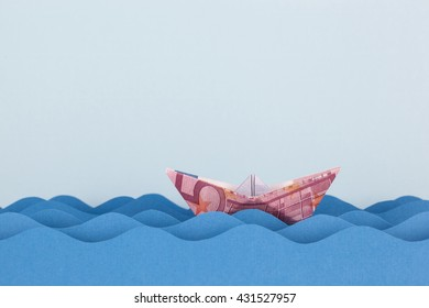 Euro boat swimming on paper waves