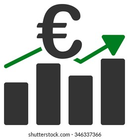Euro Business Chart glyph icon. Style is bicolor flat symbol, green and gray colors, rounded angles, white background.