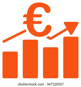 Euro Business Chart glyph icon. Style is flat symbol, orange color, rounded angles, white background.