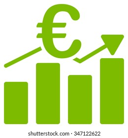 Euro Business Chart glyph icon. Style is flat symbol, eco green color, rounded angles, white background.