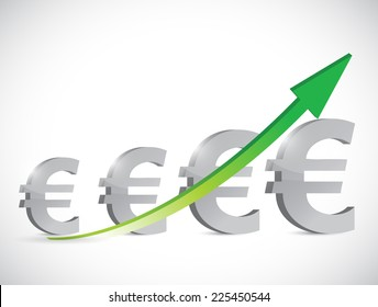euro up business graph illustration design over a white background