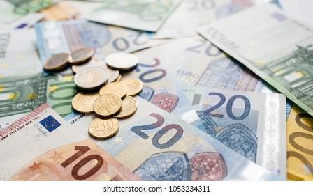 euro cash background. Euro Money Banknotes