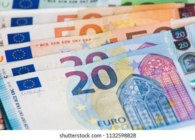 Euro cash close-up view. Different bills of euro money backdrop.