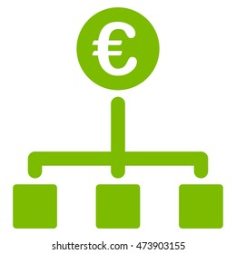 Euro Cash Flow icon. Glyph style is flat iconic symbol with rounded angles, eco green color, white background.