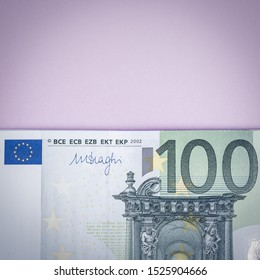 Euro cash on a lilac, purple and pink background. Euro Money Banknotes. Euro Money. Euro bill. Place for text.