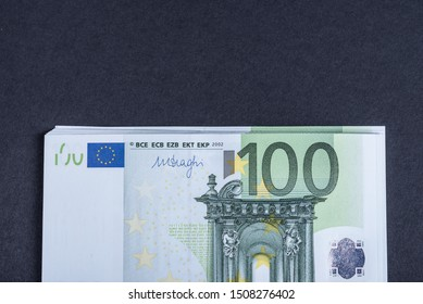 Euro cash on a pink and black background. Euro Money Banknotes. Euro Money. Euro bill. Place for text.