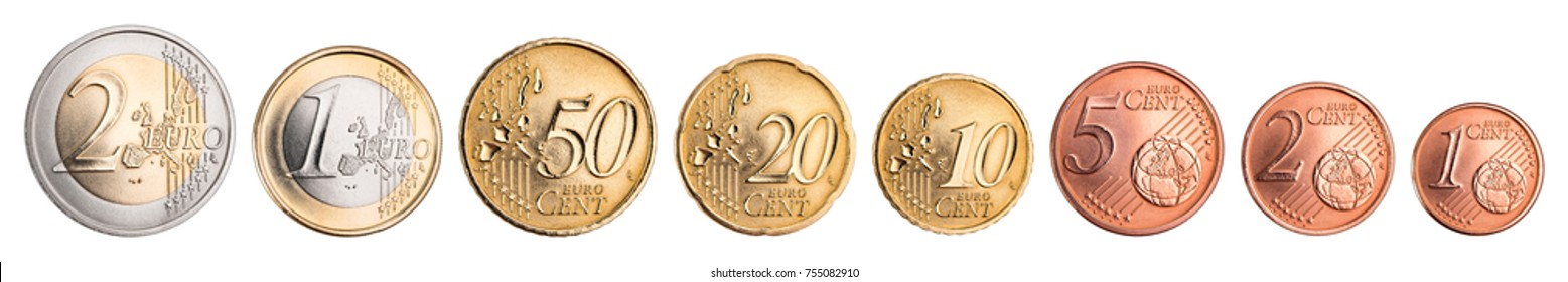 euro and cent coin currency set collection isolated on white background european union