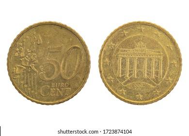 Euro coin, close up on both sides on white background