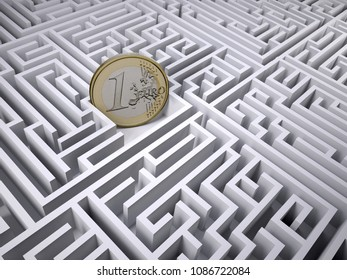 euro coin in the labyrinth maze, 3d illustration