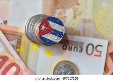 euro coin with national flag of cuba on the euro money banknotes background. finance concept