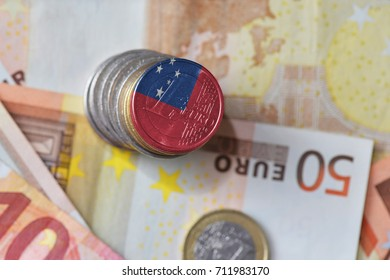 euro coin with national flag of Samoa on the euro money banknotes background. finance concept