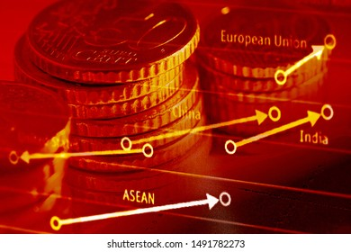Euro coin on a graph. Financial up and down trand.
