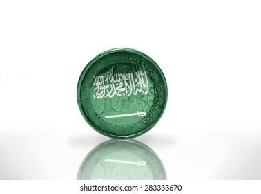 euro coin with saudi arabia flag on the white background