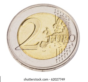 Euro coin,isolated on white with clipping path.