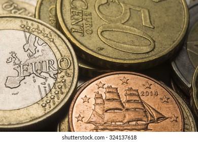 Euro coins, close up, selective focus