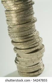 Euro coins in column