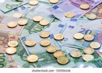 euro coins concept close up