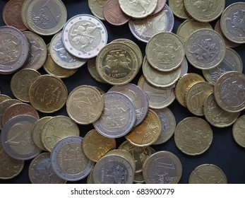 Euro coins of different denomination (EUR) released by Lithuania